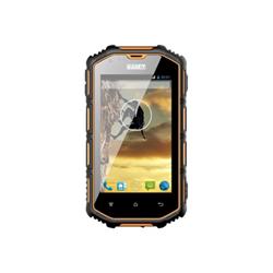 """Smartphone Saiet Forte ST-S401 - Smartphone - double SIM - 3G - 4 Go - microSDHC slot - GSM - 4"""" - 800 x 480 pixels - IPS - 8 MP (caméra avant de 2 mégapixels) - Android - noir/orange"""
