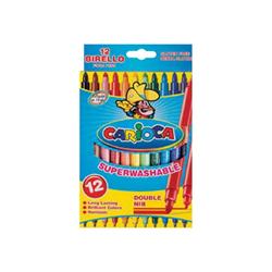 Carioca BIRELLO - Stylo à pointe en fibre double pointe - non permanent - couleurs brillantes assorties - 1-4.7 mm / 2.6 mm - moyen / fin - pack de 12