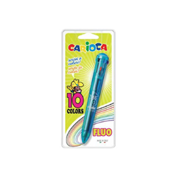 Stylo Carioca - 10 stylos à bille de couleur - couleurs assorties - rétractable