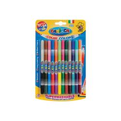 Carioca Bi-Color - Stylo à pointe en fibre double pointe - non permanent - couleurs brillantes assorties - 1-4.7 mm - moyen - pack de 12