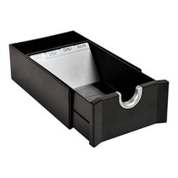 Boîte à archive Exacompta Exactive - Fichier carte - 100 x 50 mm - pour 300 cartes - noir, Argent
