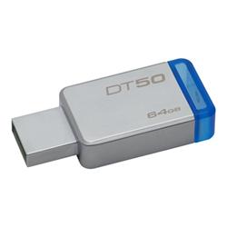 Clé USB Kingston DataTraveler 50 - Clé USB - 64 Go - USB 3.1 - bleu
