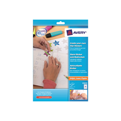 Avery Create your Own Star Stickers - Étiquettes - adhésif permanent - blanc - diamètre 40 mm 192 étiquette(s) (8 feuille(s) x 24)