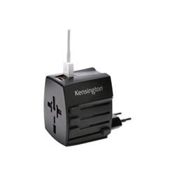 Alimentation Kensington International Travel Adapter - Adaptateur secteur (alimentation, 2 x USB (alimentation uniquement)) - noir - Australie, Chine, Japon, Royaume-Uni, Etats-Unis, Europe