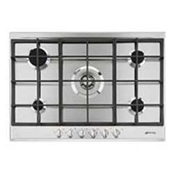 Plan de cuisson Smeg P272XGH - Table de cuisson au gaz - 5 plaques de cuisson - Niche - largeur : 55.5 cm - profondeur : 47.8 cm - inox