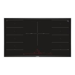 Plan de cuisson Bosch Serie 8 PXV975DC1E - Table de cuisson à induction - 5 plaques de cuisson - Niche - largeur : 88 cm - profondeur : 49 cm - noir/acier inoxydable - avec garnitures latérale en acier inoxydable - noir/inox