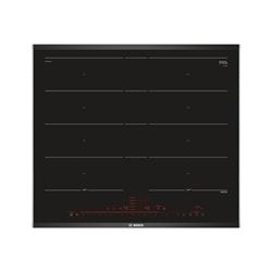 Plan de cuisson Bosch Serie 8 PXY675DE3E - Table de cuisson à induction - 4 plaques de cuisson - Niche - largeur : 56 cm - profondeur : 49 cm - noir/acier inoxydable - avec garnitures latérale en acier inoxydable - noir/inox