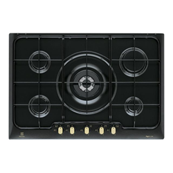 Plan de cuisson Electrolux Rustico RGG7253OOR - Table de cuisson au gaz - 5 plaques de cuisson - Niche - largeur : 56 cm - profondeur : 48 cm - noir - Fonte noire