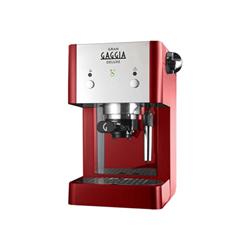 """Expresso et cafetière Gran Gaggia Deluxe RI8425 - Machine à café avec buse vapeur """"Cappuccino"""" - 15 bar - rouge/chrome"""
