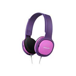 Philips SHK2000PK - Casque - sur-oreille - jack 3.5mm - isolation acoustique - violet, rose