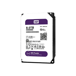 "Disque dur interne WD Purple Surveillance Hard Drive WD80PUZX - Disque dur - 8 To - interne - 3.5"" - SATA 6Gb/s - 5400 tours/min - mémoire tampon : 128 Mo"