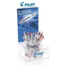 Stylo Pilot G-Tec-C4 - Roller - noir, rouge, bleu - encre biopolymère - 0.4 mm - pack de 48