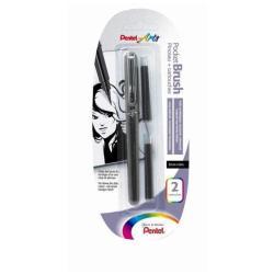 Pentel POCKET BRUSH - Feutre pinceau à pointe souple - noir - encre pigmentée - moyen