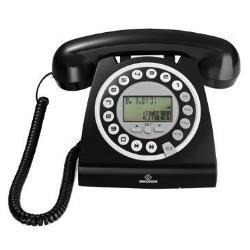 Téléphone fixe Brondi HALLO - Téléphone filaire avec ID d'appelant - noir