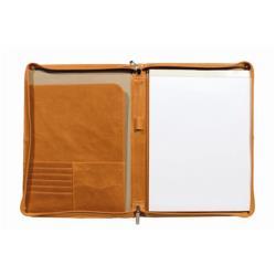 Boîte à archive ORNA 916 Tech - Étui avec fermeture éclair pour documents - nylon, cuir vieilli - orange