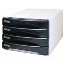 Meuble ARDA Olivia - Bloc de classement à tiroirs - 4 tiroirs - A4, 265 x 335 mm - noir mat