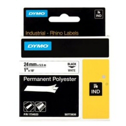 Nastro Dymo - Rhinopro 24mmx5.5m Poliestere N/B