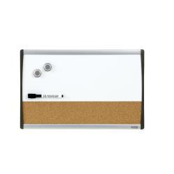 Tableau Quartet - Tableau combiné : tableau blanc, tableau d'affichage - 280 x 430 mm - liège - magnétique - cadre noir/argent