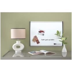 Tableau Quartet - Tableau blanc - montable au mur - 585 x 430 mm - acier peint - magnétique - cadre noir/argent