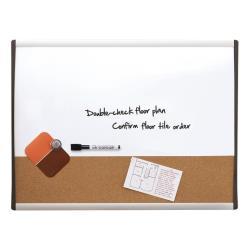 Tableau Quartet - Tableau combiné: tableau blanc, tableau d'affichage - 585 x 430 mm - liège, acier peint - magnétique - cadre noir/argent