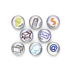 Quartet To Do - Symbole magnétique - ideas, calls, shop, email, mail, messages, file, payment - assortiment (pack de 8)