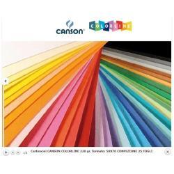 Papier coloré CANSON Colorline - Carton - 500 x 700 mm - 25 feuilles - rouge - 220 g/m²