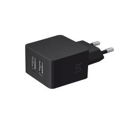 Chargeur Trust Dual - Adaptateur d'alimentation - CA/USB - 10 Watt - 1 A - 2 connecteurs de sortie ( USB (alimentation uniquement) ) - noir