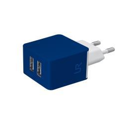 Chargeur Urban Revolt Dual Wall Charger - Adaptateur secteur - 10 Watt - 1 A - 2 connecteurs de sortie (USB (alimentation uniquement)) - bleu