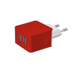Chargeur Urban Revolt Dual Wall Charger - Adaptateur secteur - 10 Watt - 1 A - 2 connecteurs de sortie (USB (alimentation uniquement)) - rouge