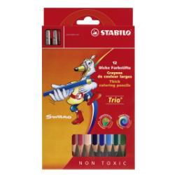 Stabilo Trio thick - Crayon de couleur - couleurs assorties - 4.2 mm - pack de 12