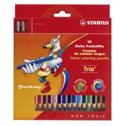 Stabilo Trio thick - Crayon de couleur - couleurs assorties - 4.2 mm - pack de 18
