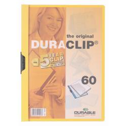Porte-documents DURABLE DURACLIP 60 - Chemise à clip - A4 - pour 60 feuilles - jaune avec couverture avant transparente