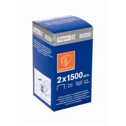 Agrafe Rapid 5020 - Agrafes - acier galvanisé - pack de 2 x 1500 - avec cartouche - pour Supreme 5020e, 5025e