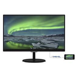 "Écran LED Philips E-line 237E7QDSB - Écran LED - 23"" - 1920 x 1080 Full HD (1080p) - AH-IPS - 250 cd/m² - 1000:1 - 5 ms - DVI-D, VGA, HDMI (MHL) - noir brillant"