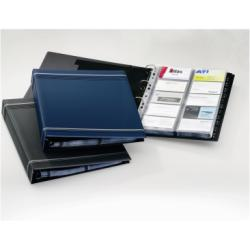 Boîte à archive DURABLE VISIFIX - Classeur pour cartes de visite - 12 positions - A-Z - 57 x 90 mm - pour 400 cartes - bleu foncé avec bandes argentées