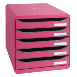 Exacompta BIG-BOX Classic A4 Plus - Bloc de classement à tiroirs - 5 tiroirs - framboise