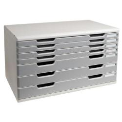 Exacompta MODULO Classic A4+ - Bloc de classement à tiroirs - 7 tiroirs - gris clair, granit