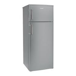 Réfrigérateur Hoover HVDS 5144 XH - Réfrigérateur/congélateur - pose libre - largeur : 55 cm - profondeur : 58 cm - hauteur : 143 cm - 204 litres - congélateur haut - Classe A++ - inox