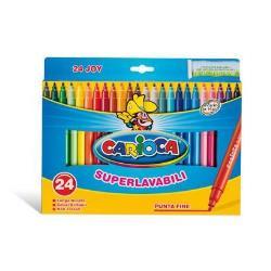 Carioca Joy - Feutre - non permanent - couleurs brillantes assorties - 2.6 mm - fin - pack de 24