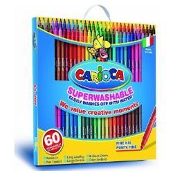Carioca Joy - Feutre - non permanent - couleurs brillantes assorties - encre à l'eau - 2.6 mm - fin - pack de 60
