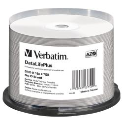 Verbatim - 50 x DVD-R - 4.7 Go 16x - surface imprimable thermique large - spindle