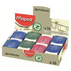 Maped Architecte - Gomme - assortiment de couleurs translucides (pack de 16)