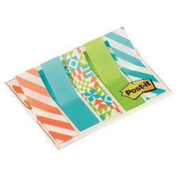 Post-it Post-it Geo Collection Index Mini 684-GEO5 - Adhesive strip - 11.9 x 43.2 mm (5 x 20) - blanc, vert, orange, turquoise