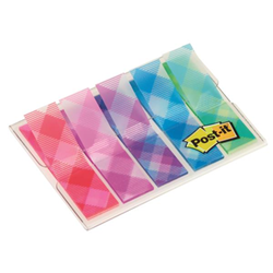 Post-it Post-it Gingham Collection Index Mini 684-PLD5 - Adhesive strip - 11.9 x 43.2 mm (5 x 20) - rose, bleu, rouge, violet, turquoise