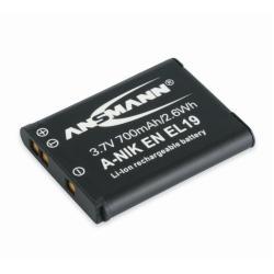 Batterie ANSMANN A-Nik EN EL 19 - Pile pour appareil photo Li-Ion 700 mAh - pour Nikon Coolpix A100, A300, S2900, S32, S33, S3700, S5300, S6700, S6800, S6900, S7000, W100