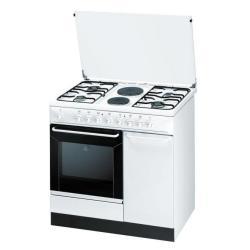 Cuisinière à gaz Indesit K9B11S(W)/I - Cuisinière - pose libre - largeur : 90 cm - profondeur : 60 cm - hauteur : 85 cm - Classe D - blanc