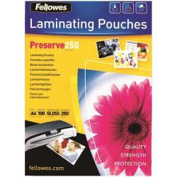 Fellowes Laminating Pouches Preserve 250 Micron - 250 microns - pack de 100 - brillant - transparent - A4 (210 x 297 mm) pochettes plastifiées