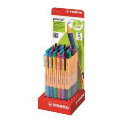 Stylo Stabilo pointball - Stylo à bille - noir, rouge, bleu, vert, turquoise, lilas - 0.5 mm - moyen - rétractable - pack de 36