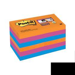 Post-it Post-it Super Sticky Bangkok 622-12SS-EG - Notes - 51 x 51 mm 1080 pages (12 x 90) - fuchsia, bleu méditerranée, orange fluorescent
