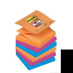 Post-it Post-it Super Sticky Z-Notes Bangkok R330-6SS-EG - Notes - 76 x 76 mm - 540 feuilles (6 x 90) - fuchsia, bleu méditerranée, orange fluorescent